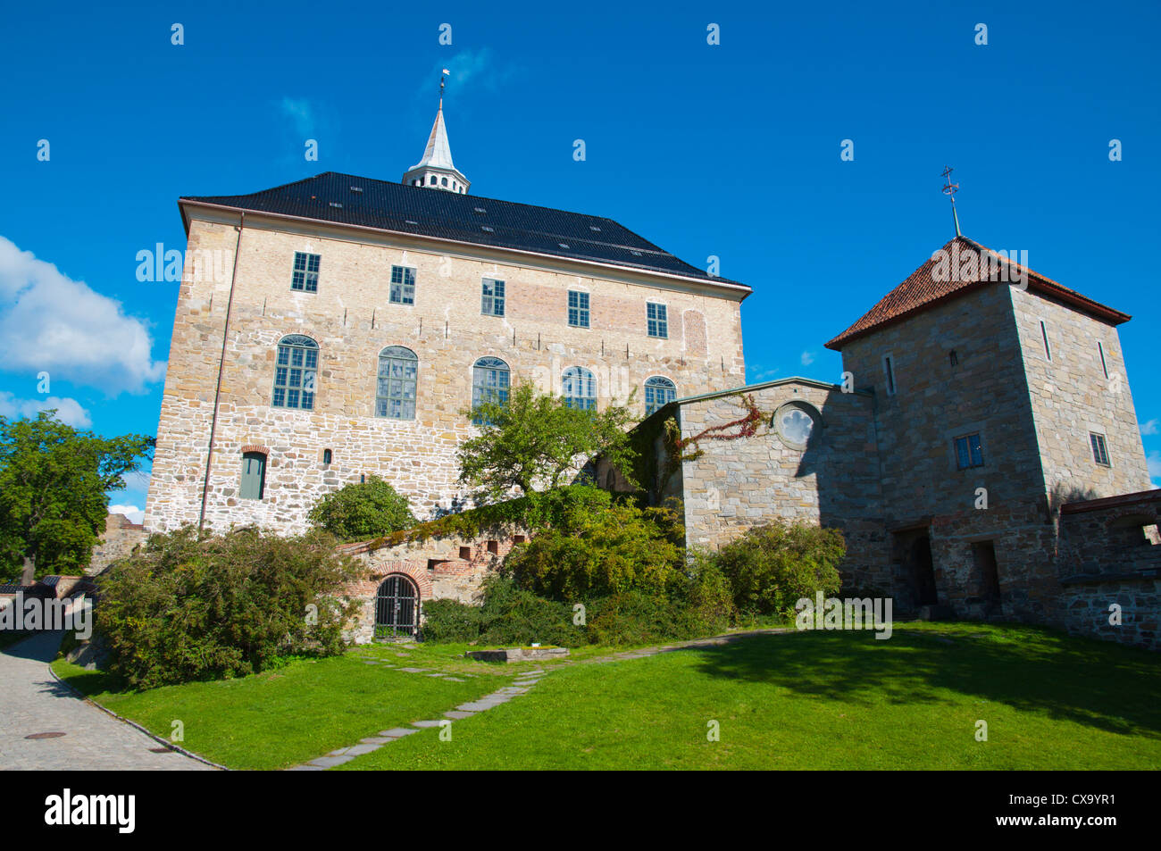 Akershus castle and fortress area Sentrum central Oslo Norway Europe - Stock Image