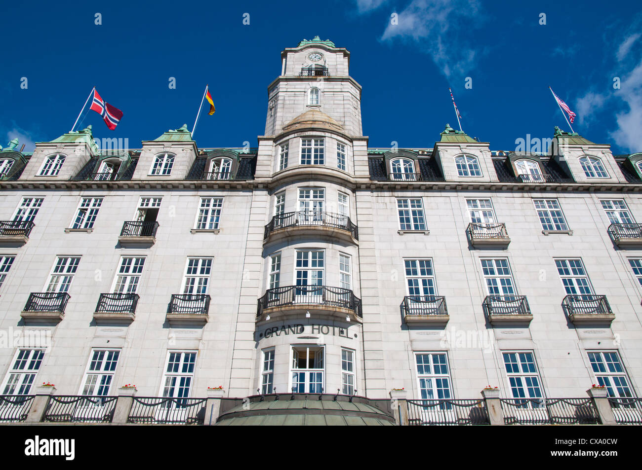 Grand Hotel is housed in building from 1874 along Karl Johans Gate street Sentrum central Oslo Norway Europe - Stock Image