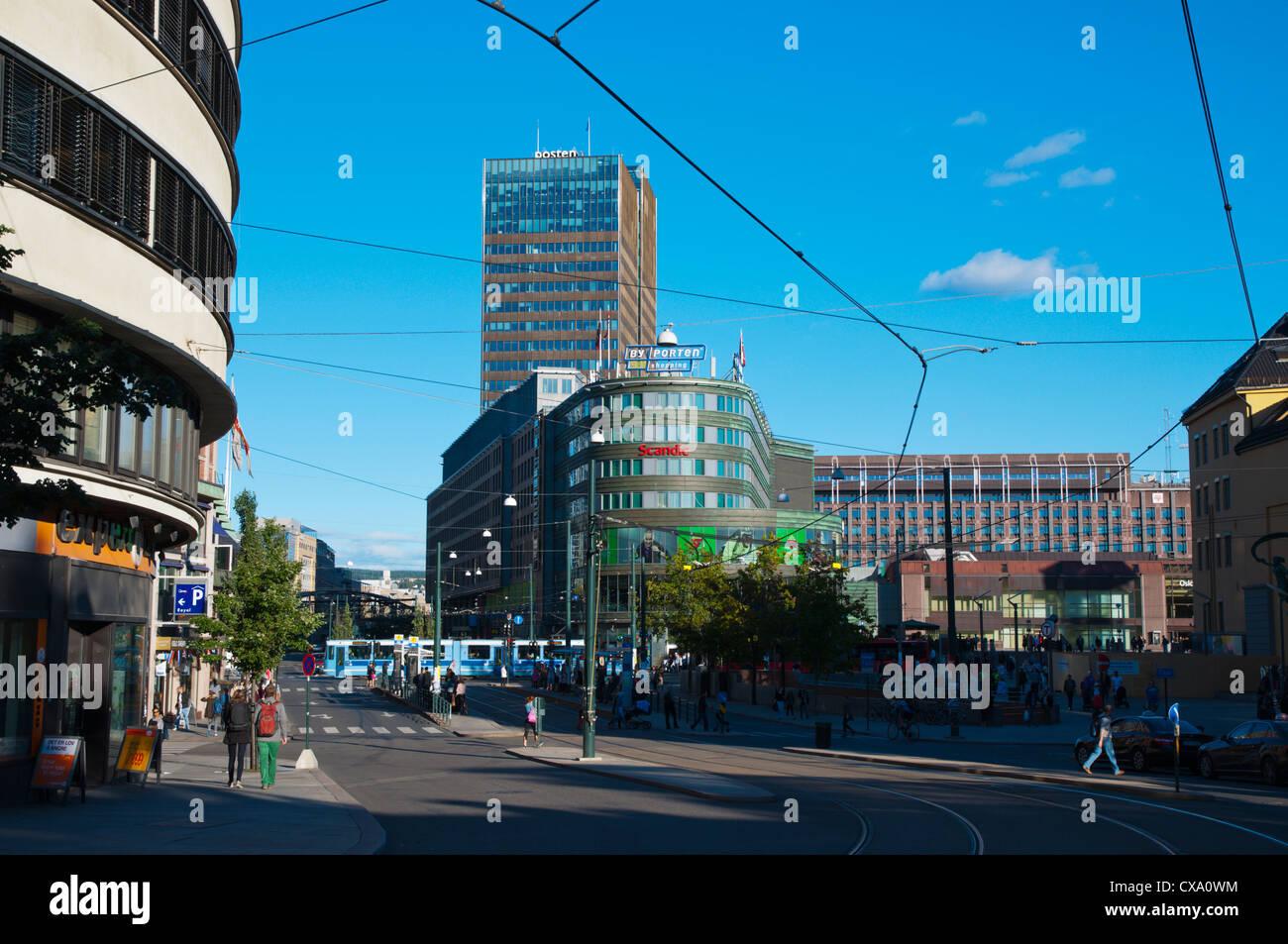 Biskop Gunnerus Gate street Hammersborg district Sentrum central Oslo Norway Europe - Stock Image