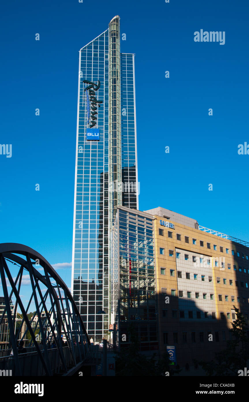 Radisson Blu hotel the tallest building in town at Sonia Henies Plass square Sentrum central Oslo Norway Europe - Stock Image