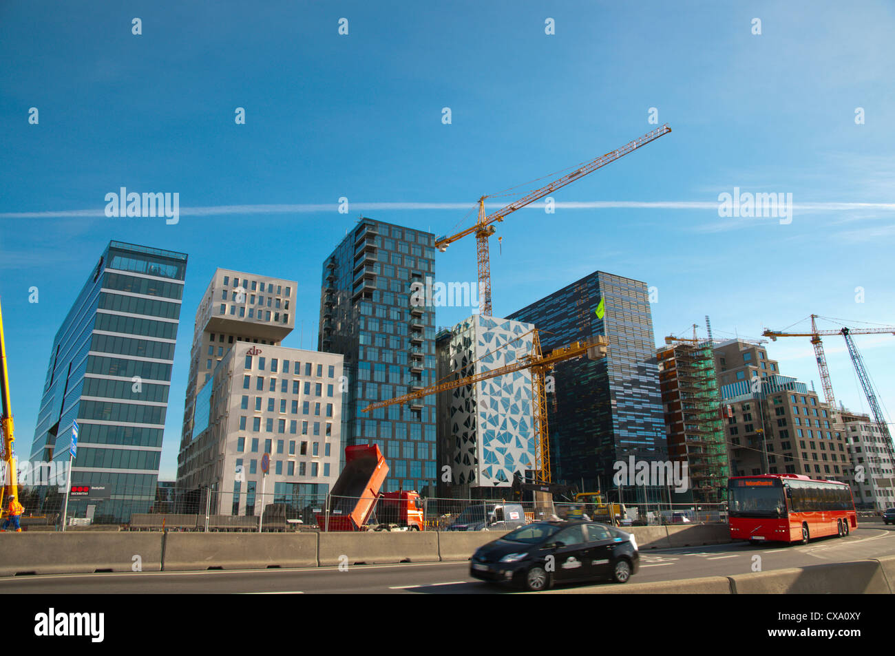 Traffic at Bjorvika district Fjord City area central Oslo Norway Europe - Stock Image
