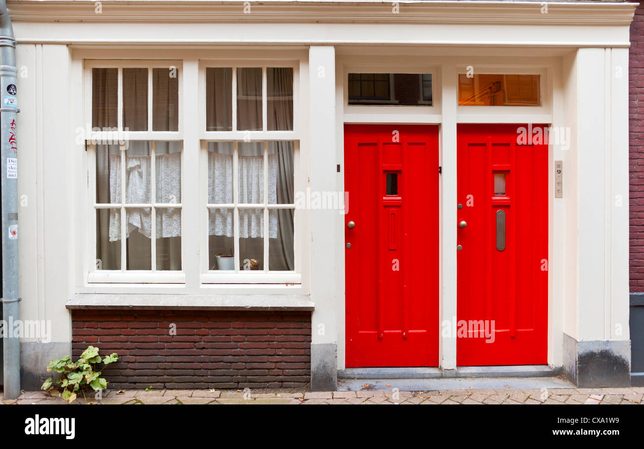 Red doors - Amsterdam, Netherlands, Europe - Stock Image