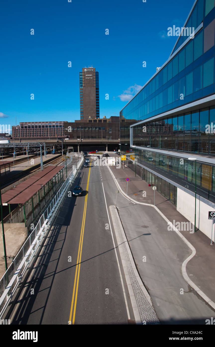 Ostra Tangent ramp overflying main railway station tracks Gronland district central Oslo Norway Europe - Stock Image