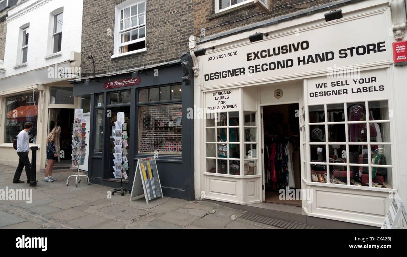 exclusivo designer second hand store on flask walk hampstead village stock photo 50623206 alamy. Black Bedroom Furniture Sets. Home Design Ideas