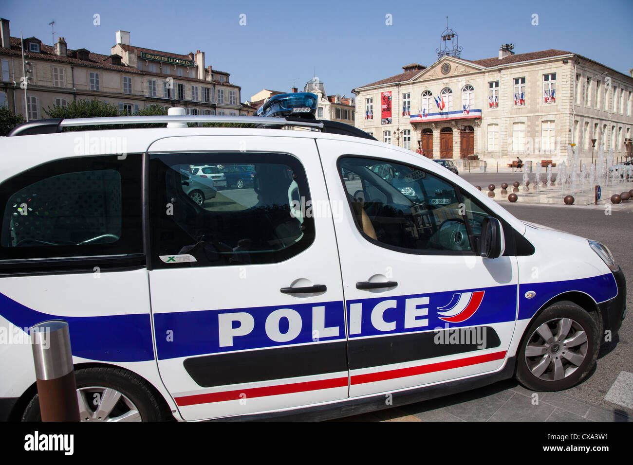 Police car in Auch, Gers, Midi Pyrenees, France - Stock Image