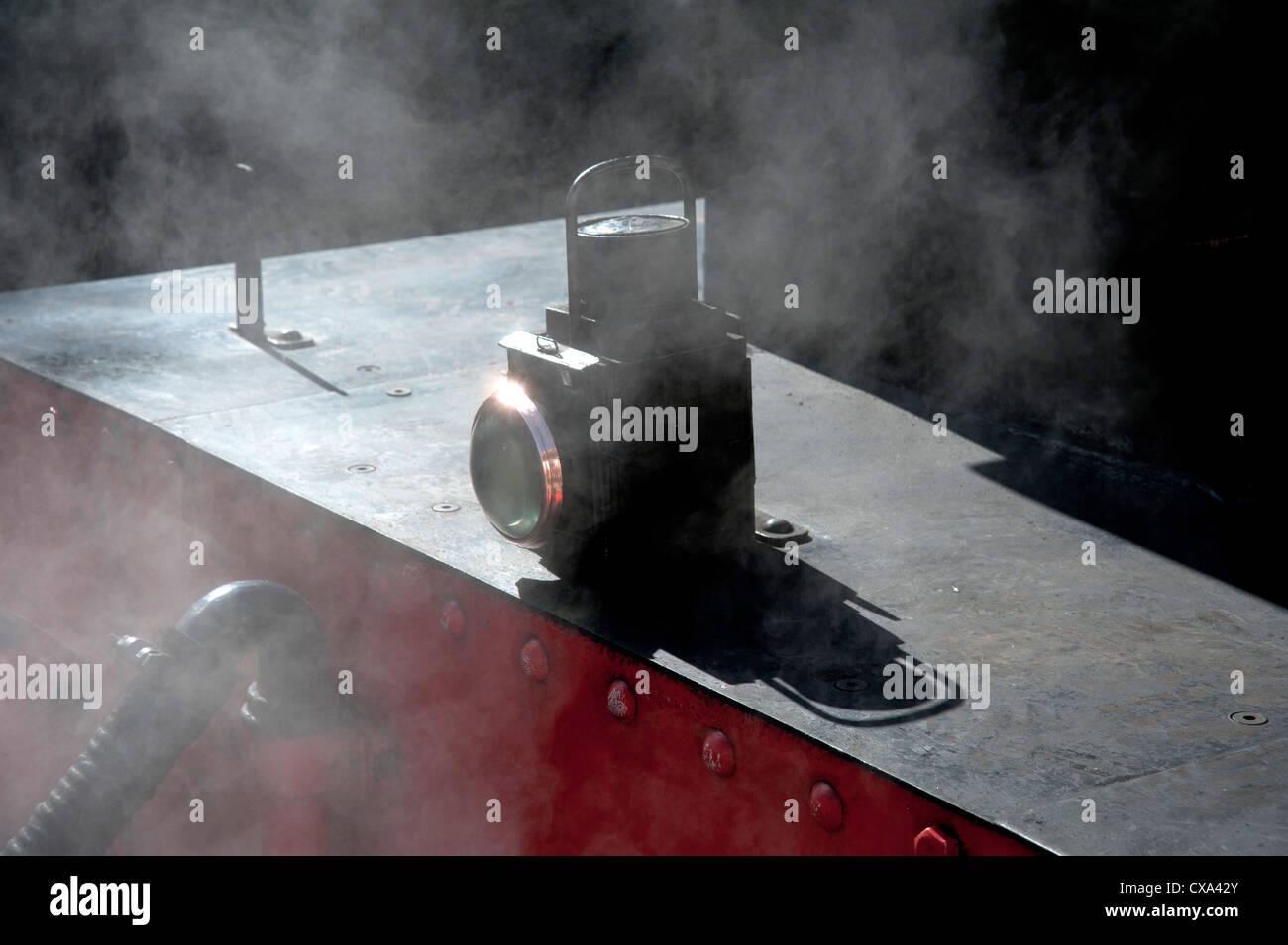 Steam locomotive's oil lamp - Stock Image