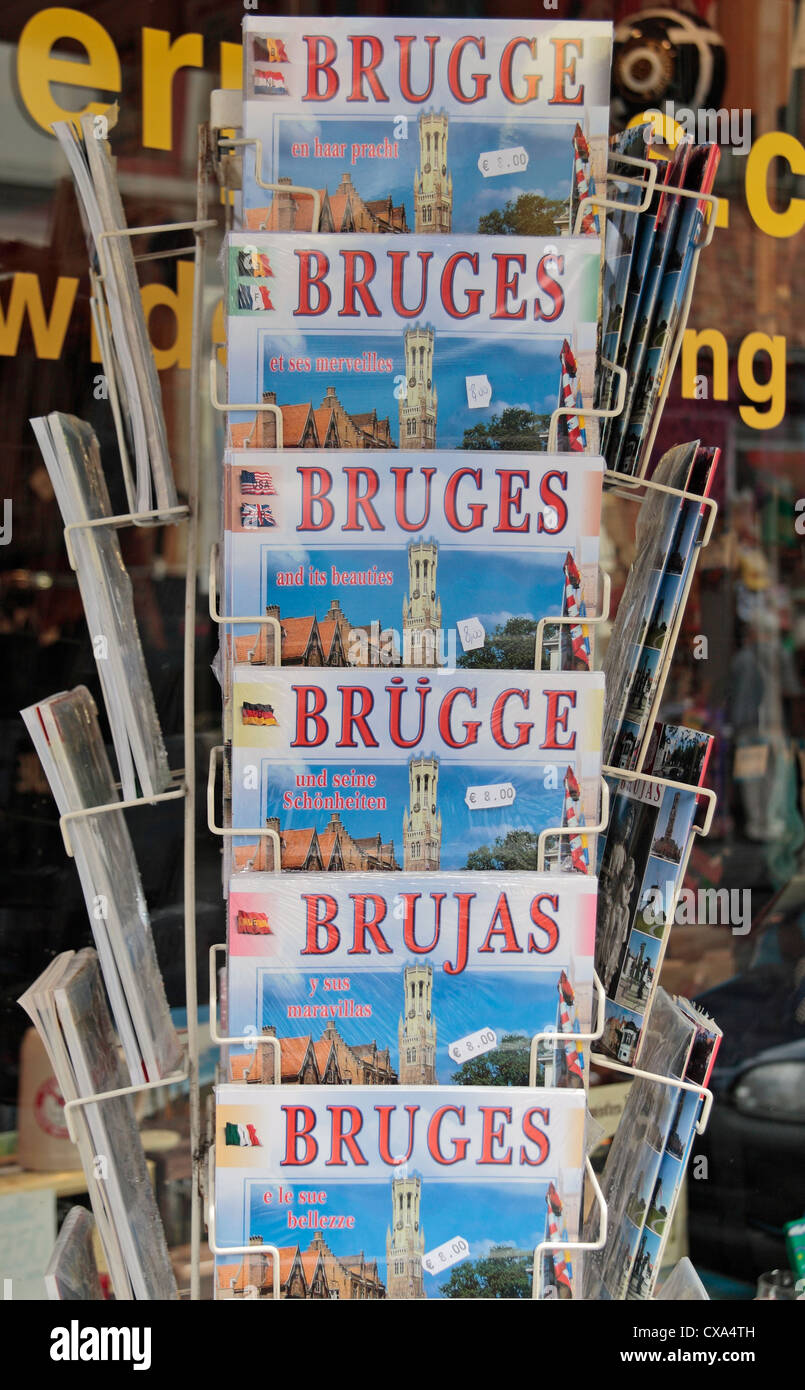 A shop display of Bruges travel guides in different languages outside a store in Bruges, Belgium. Stock Photo