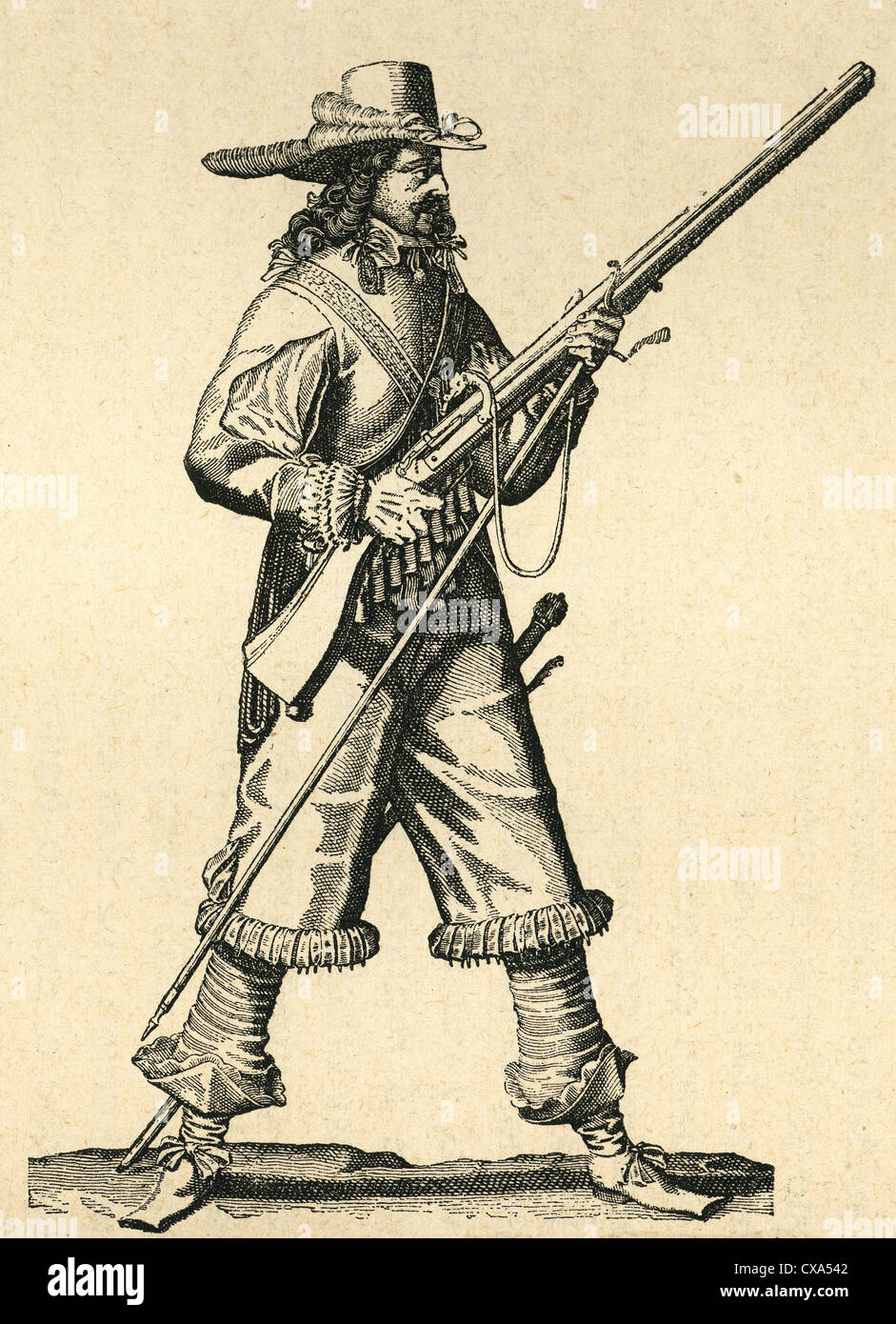 France. Army of the 18th century. Musketeer of the Infantry of Louis XIV with his musket. Engraving. - Stock Image