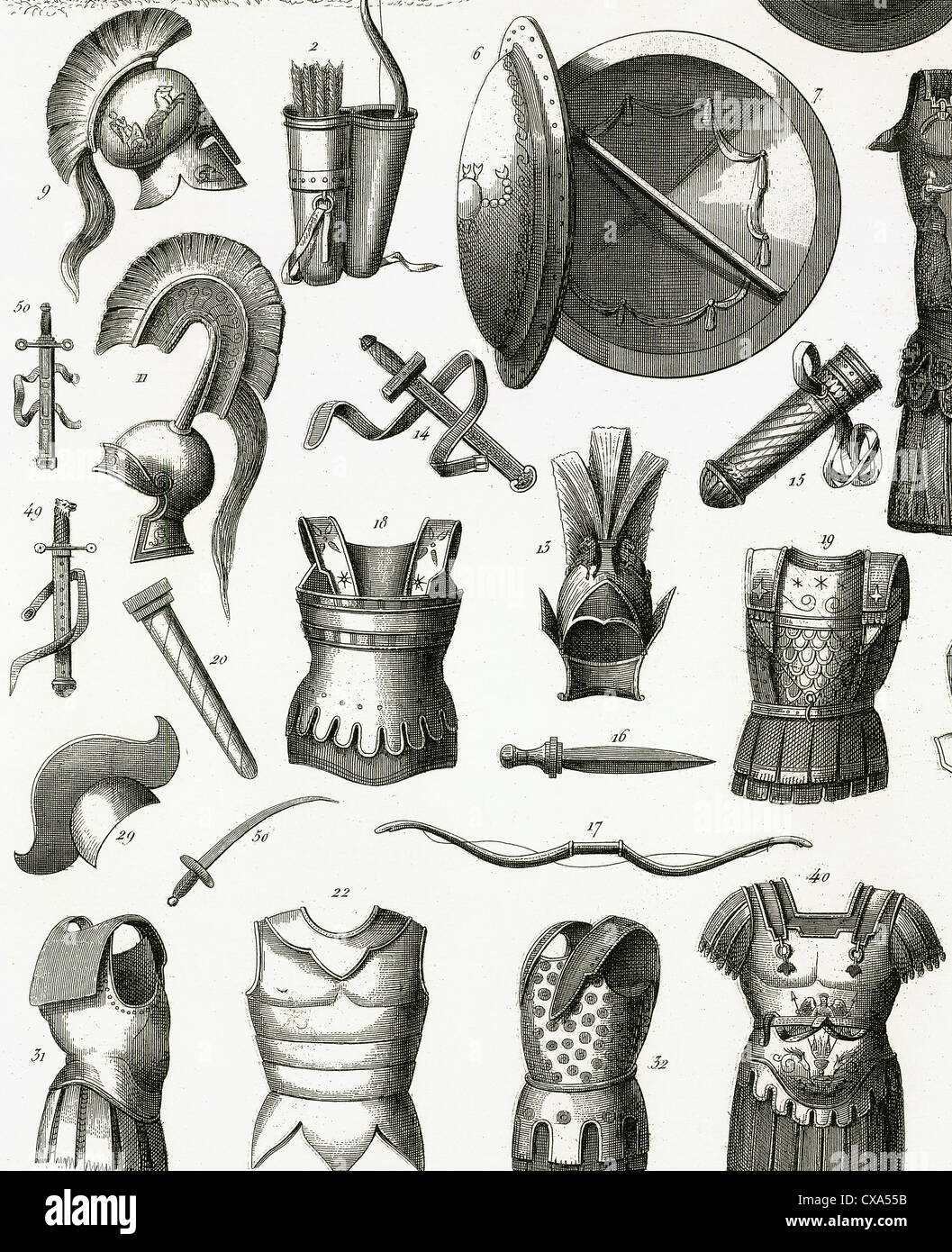 Roman army. Armors and weaponry. Engraving. 19th century. - Stock Image