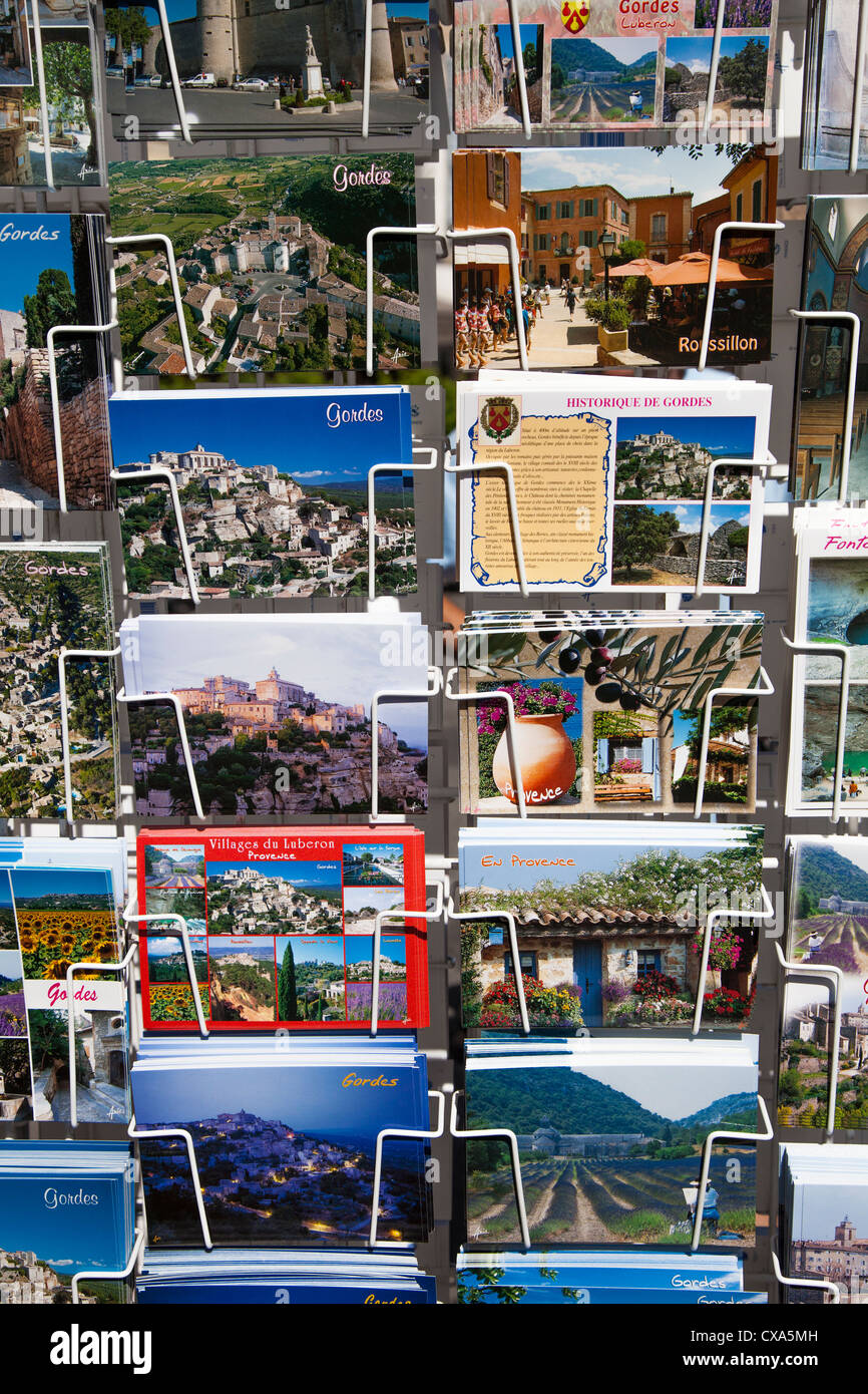 Postcards for sale in the hilltop village of Gordes, Provence, France Stock Photo