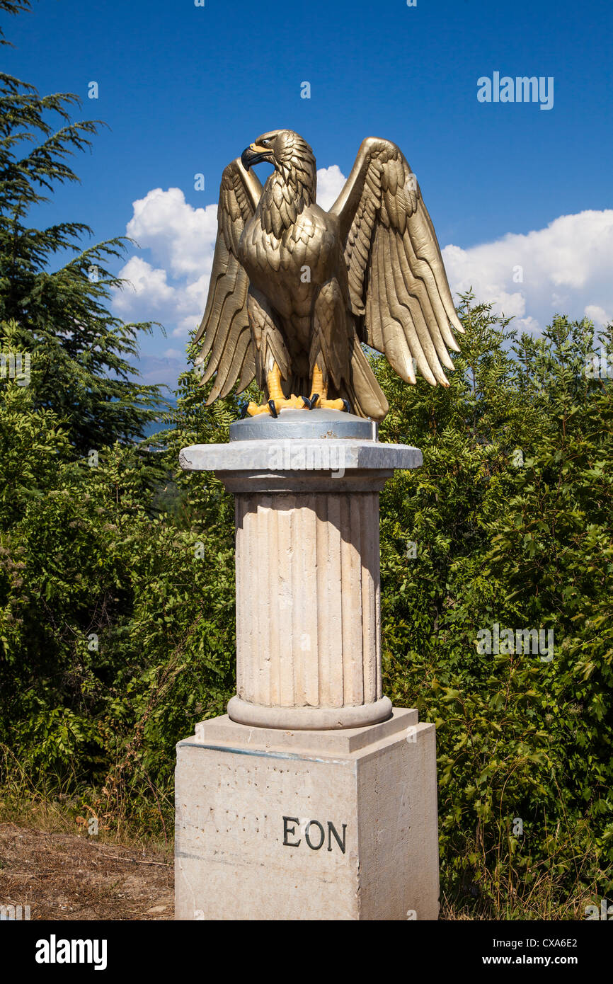 Guilded eagle marking the Route Napoleon, Gap, Hautes-Alpes - Stock Image
