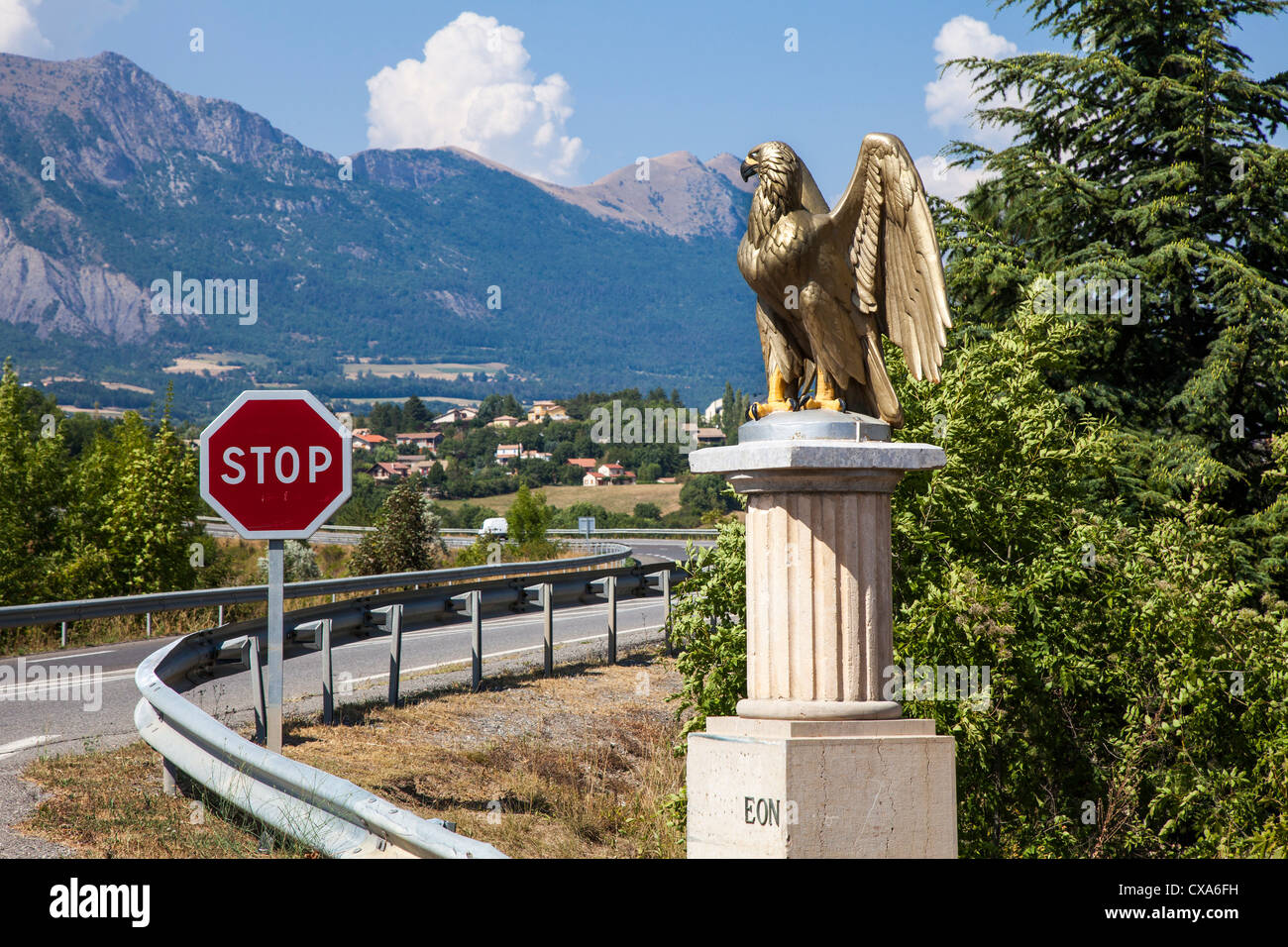 Guilded eagle marking the Route Napoleon, Gap, Hautes-Alpes France - Stock Image