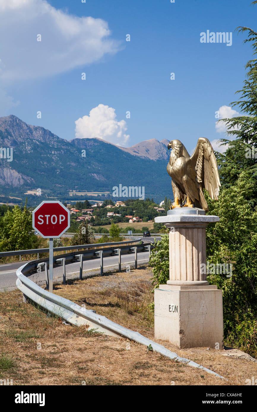 Gilded eagle marking the Route Napoleon, Gap, Hautes-Alpes France - Stock Image