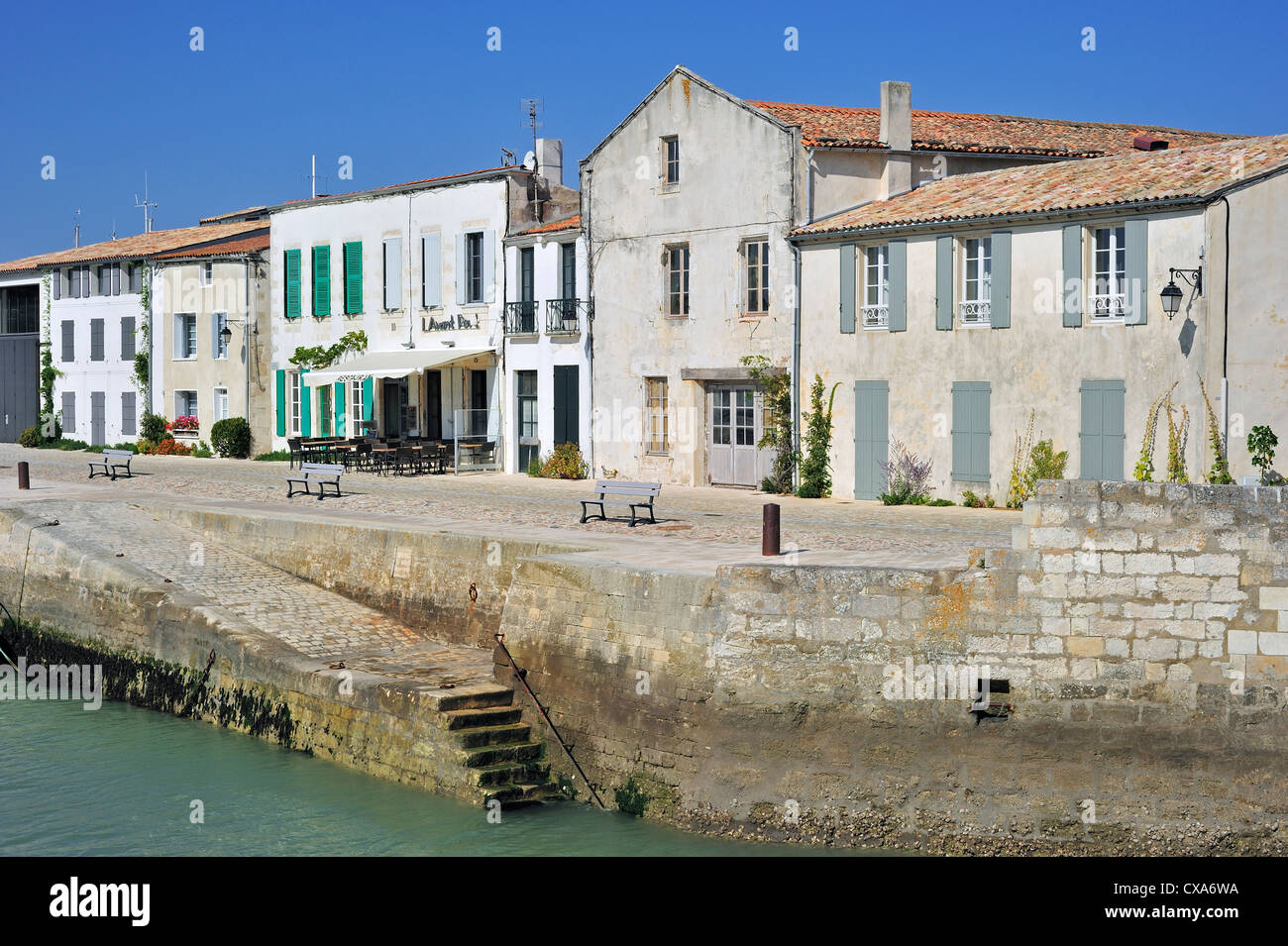 Houses And Restaurants Along The Port At Saint Martin De Re On The