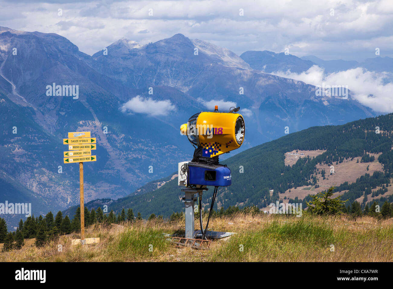 Snow canon on the mountainside during the summer, near Sestriere, Italy - Stock Image