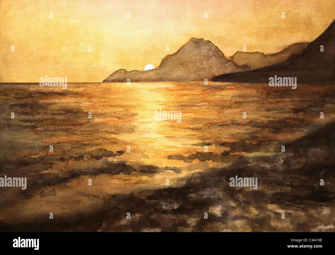 sunset, mediterran sunset, mediterran sundown, sundown, sunset painting, orange, orange sun, sun sea, beach, sun, - Stock Image