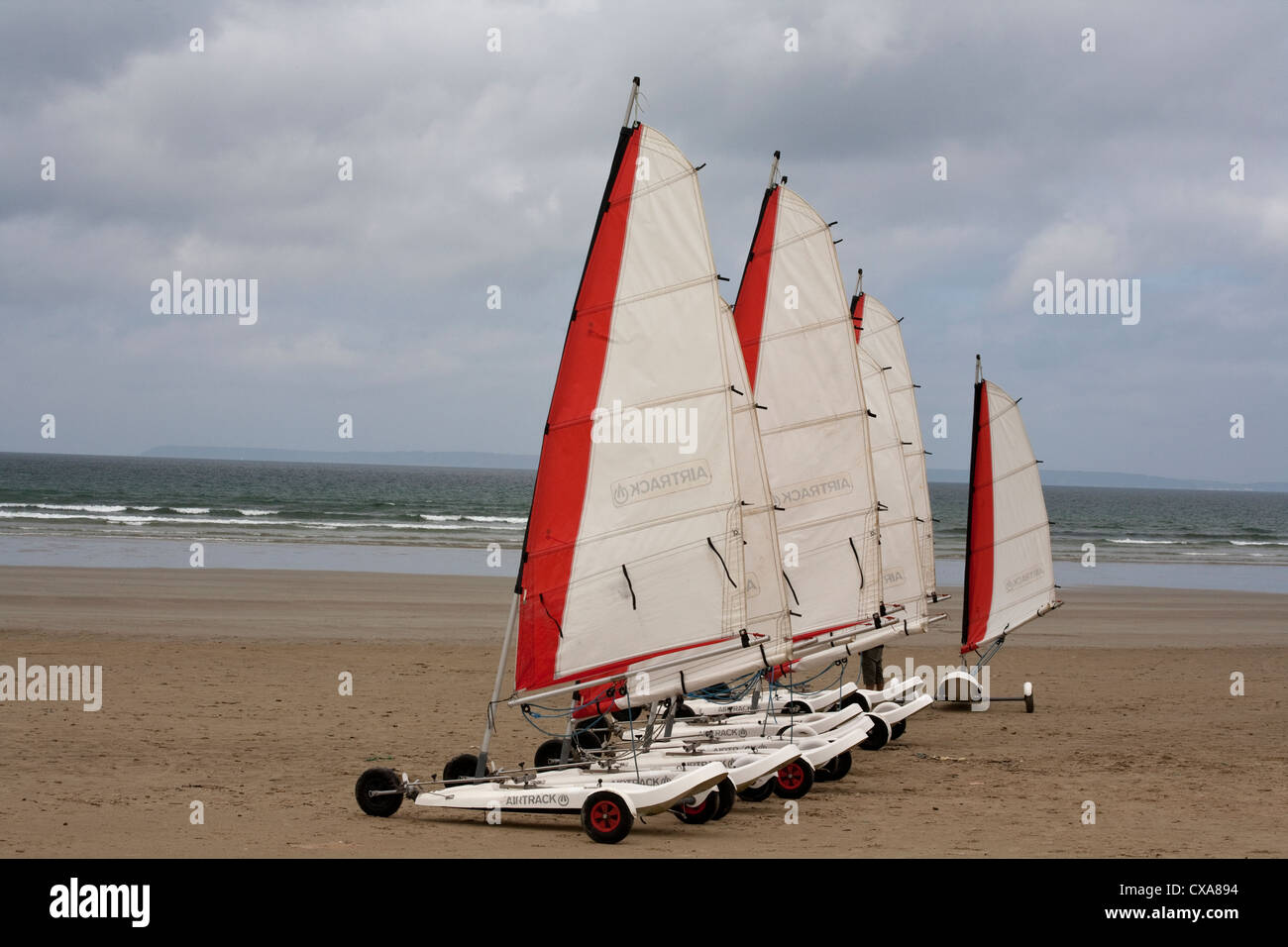 Sand yachts in Brittany beach France Stock Photo