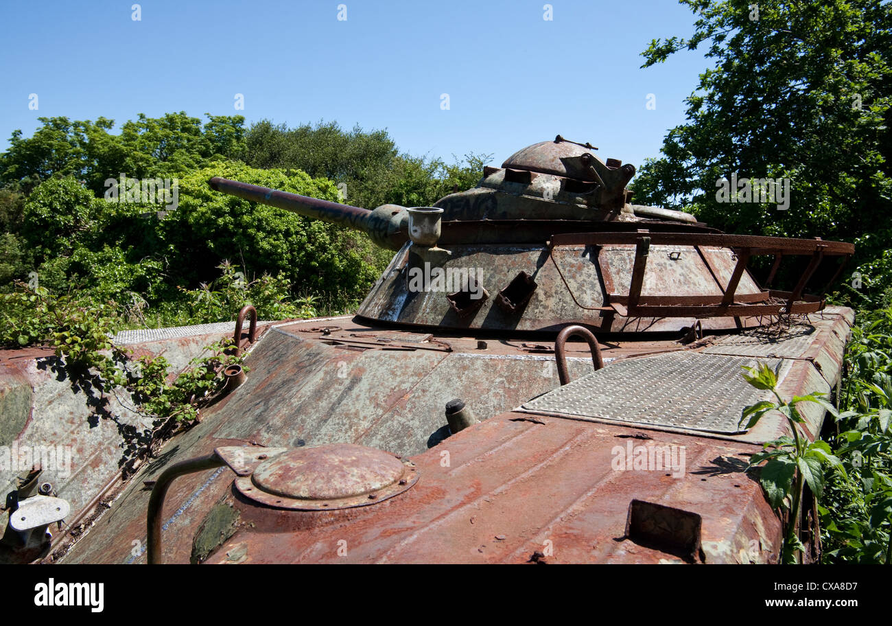Abandoned tank at Fort Robert Pointe Des Espagnols Brittany France Stock Photo