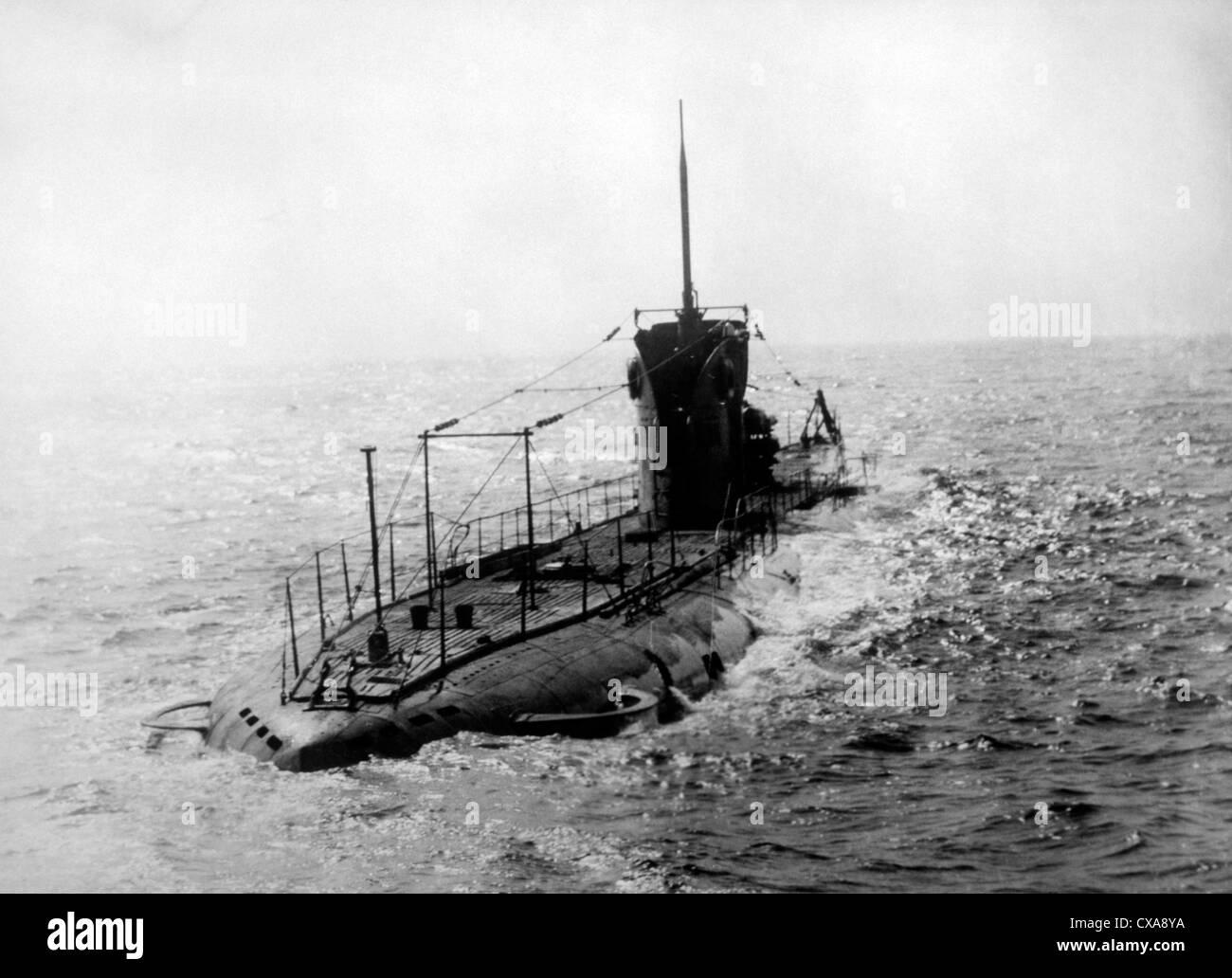 Submarine at Sea, World War I - Stock Image