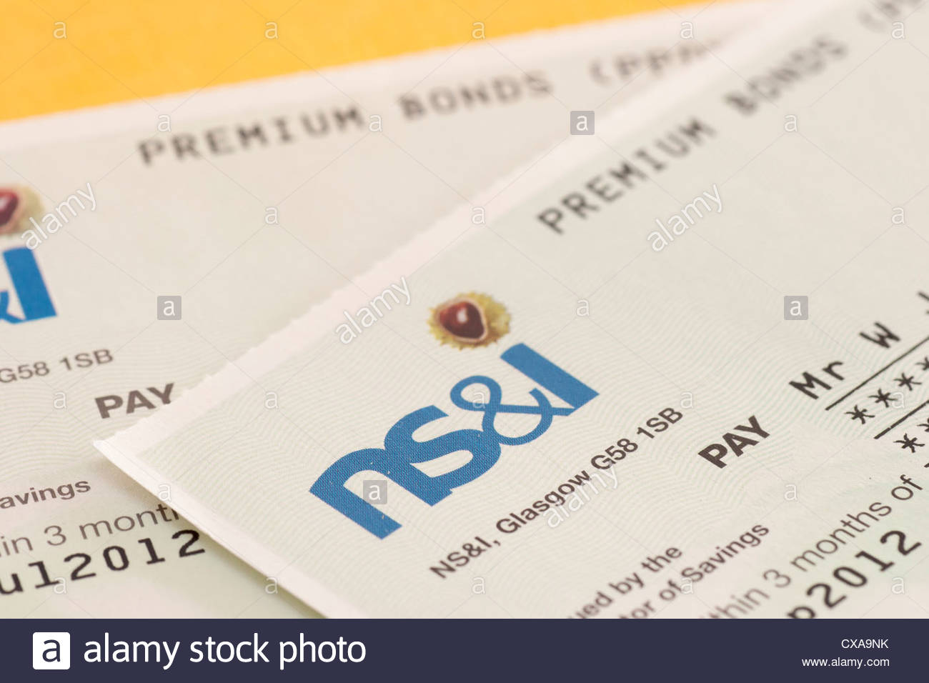 Cheque from NS&I (National Savings and Investments) for win on the Premium Bonds - Stock Image