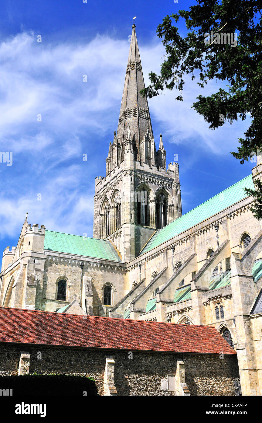 The Spire and The Cloisters of Chichester Cathedral, Chichester, - Stock Image