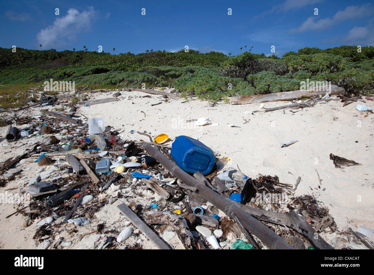 Trash found along the coast of the Swan Islands off the coast of Honduras. - Stock Image