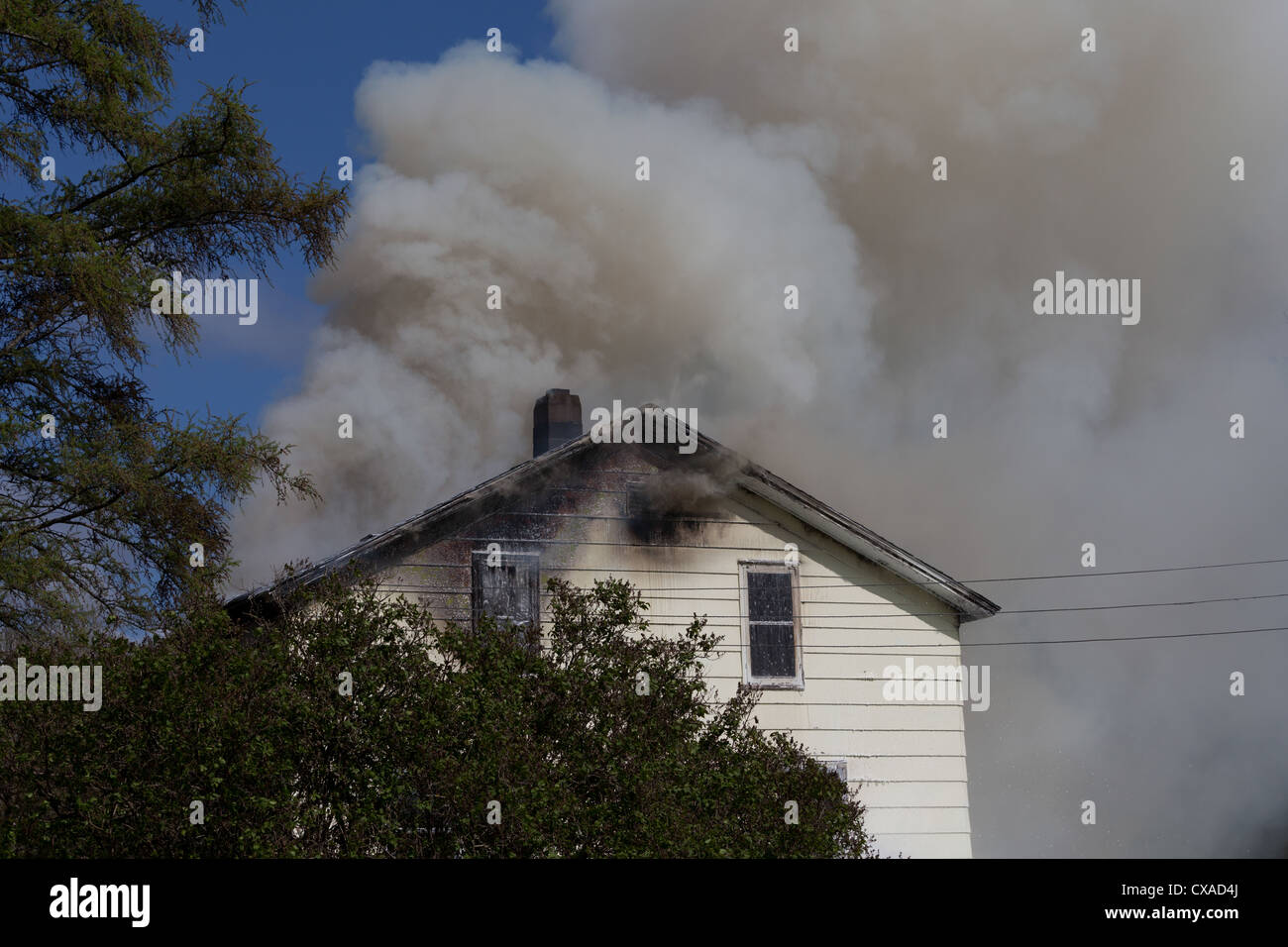 House fire - Stock Image