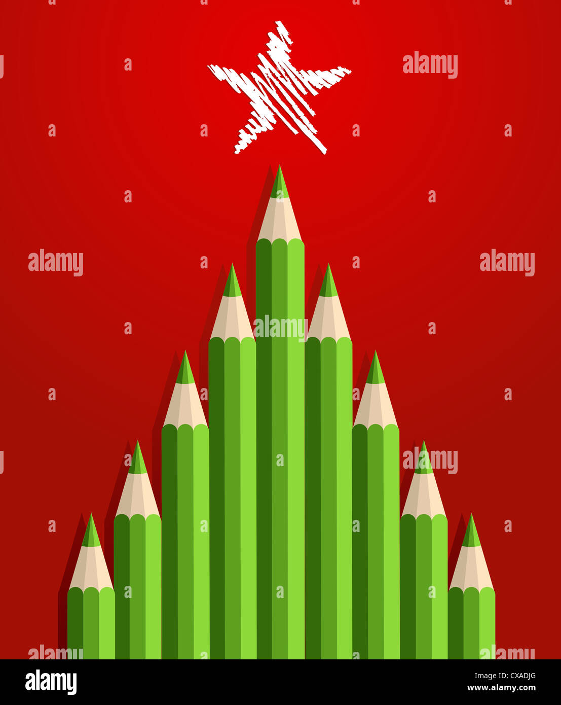 Green Christmas tree pencils greeting card. Vector illustration ...