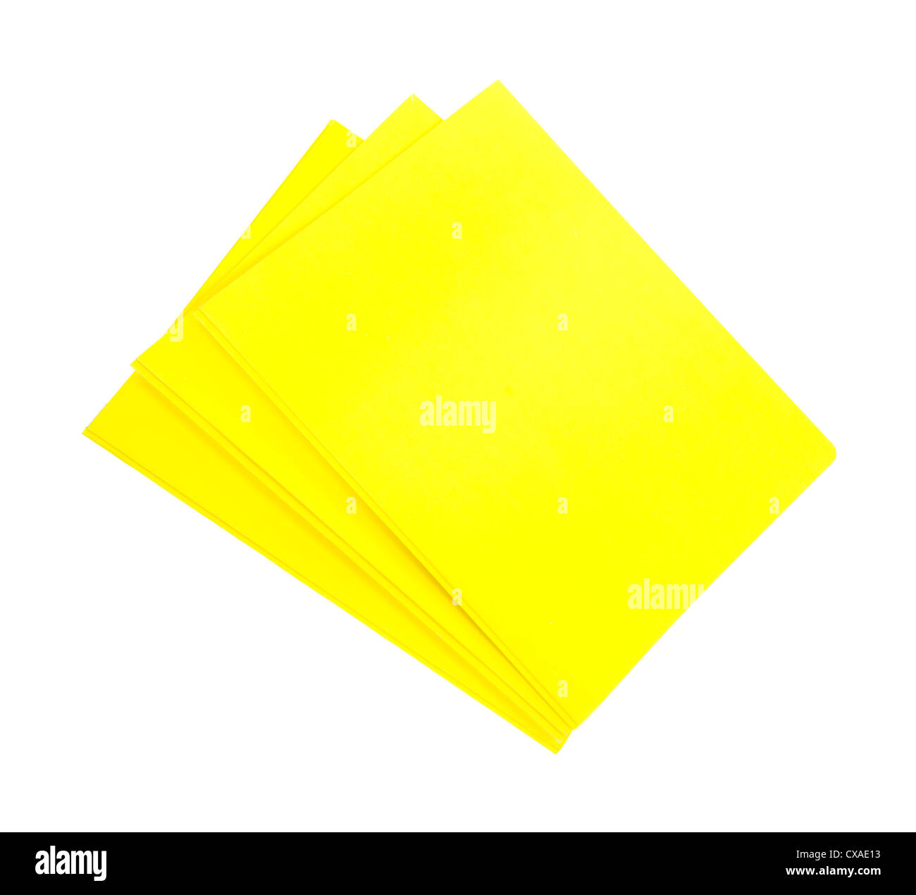 Three bright yellow folders for school and business on a white background. - Stock Image