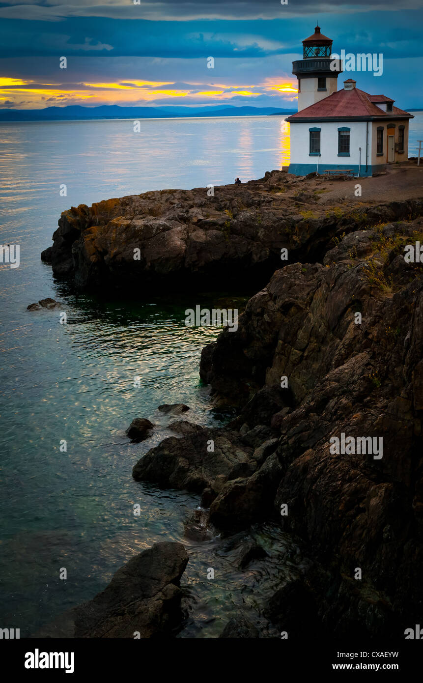 Lime Kiln lighthouse on San Juan Island, Washington - Stock Image