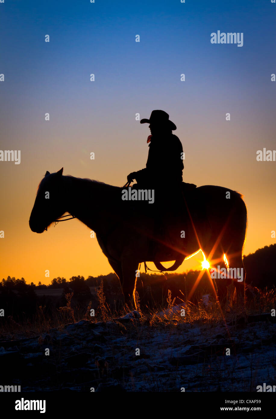 Cowboy on horse silhouetted against the rising sun and morning sky in eastern Wyoming - Stock Image