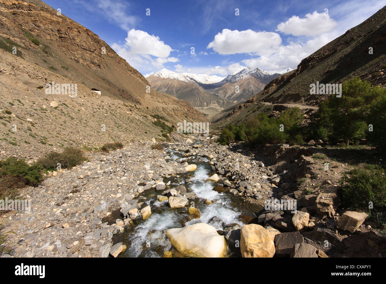 A view of the Afghan Hindu Kush mountain range from Tajikistan across the Wakhan valley - Stock Image