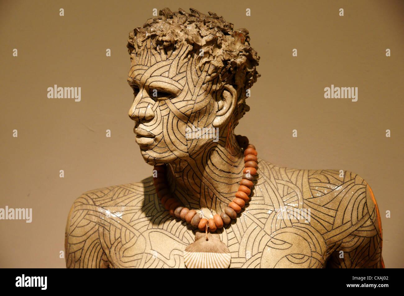 art ceramic man male figure cut disfigured plaza mercado santa fe new mexico nm god disfigurement aptitude - Stock Image
