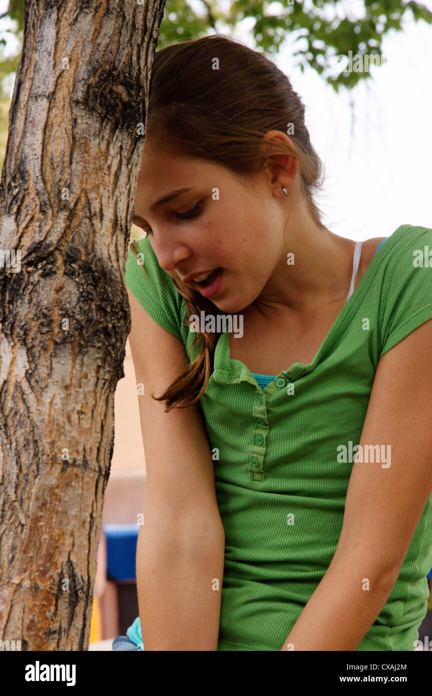 Young Teen Teenager Girl Child Kid Looking Down Pleasant