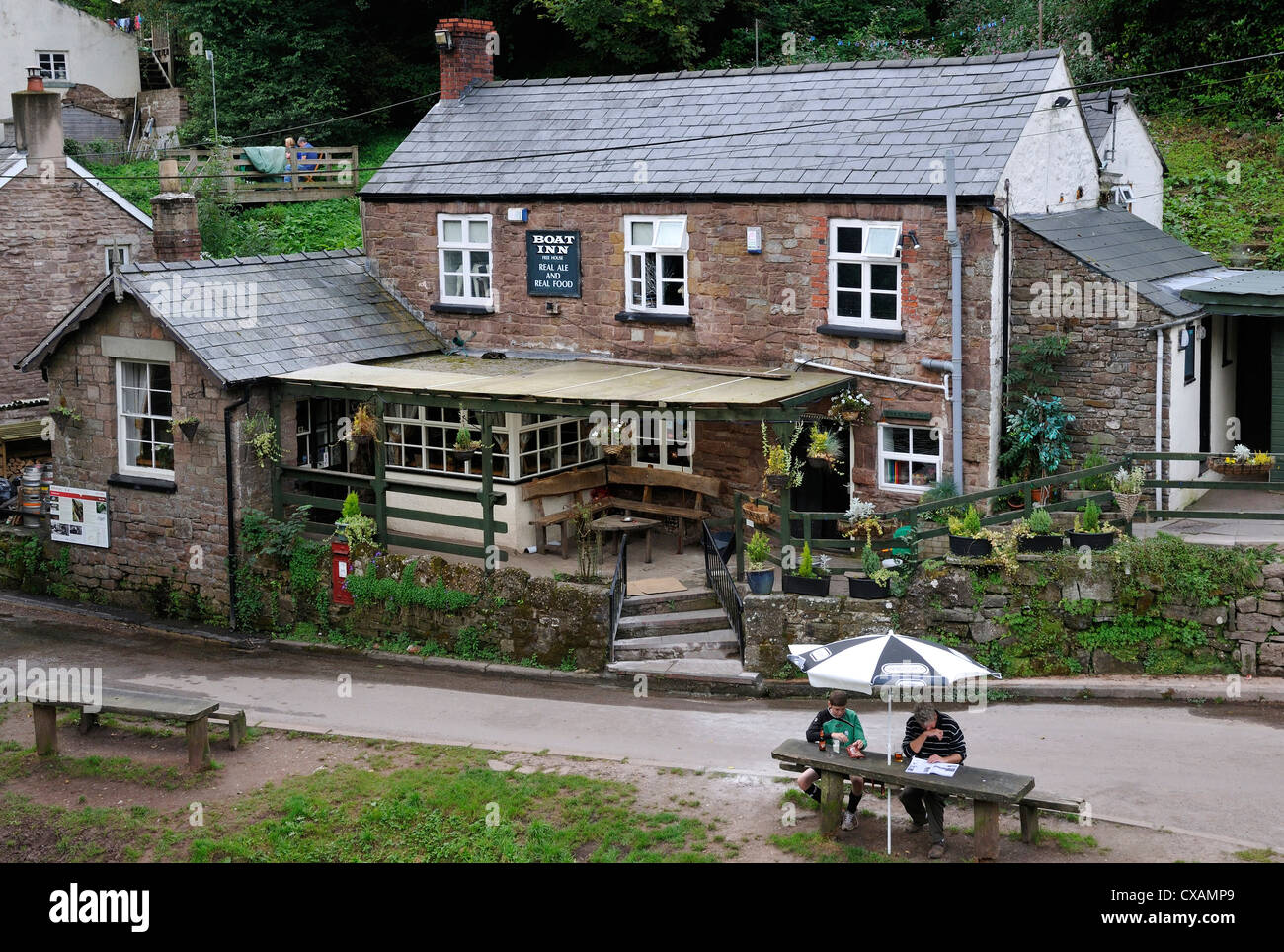 The Boat Inn, Penallt on the banks of the River Wye, opposite Redbrook - Stock Image