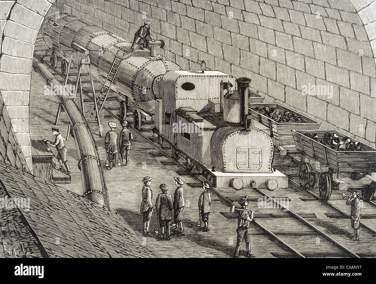 Switzerland. 19th century. Locomotive driven by compressed air used for the drilling of Saint-Gothard. Engraving. - Stock Image