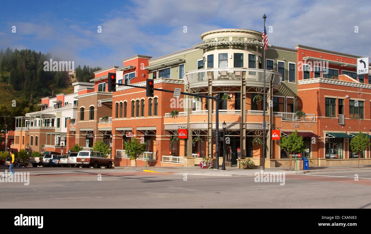 steamboat springs downtown city town howelsen building colorado co place routt county united states winter ski - Stock Image
