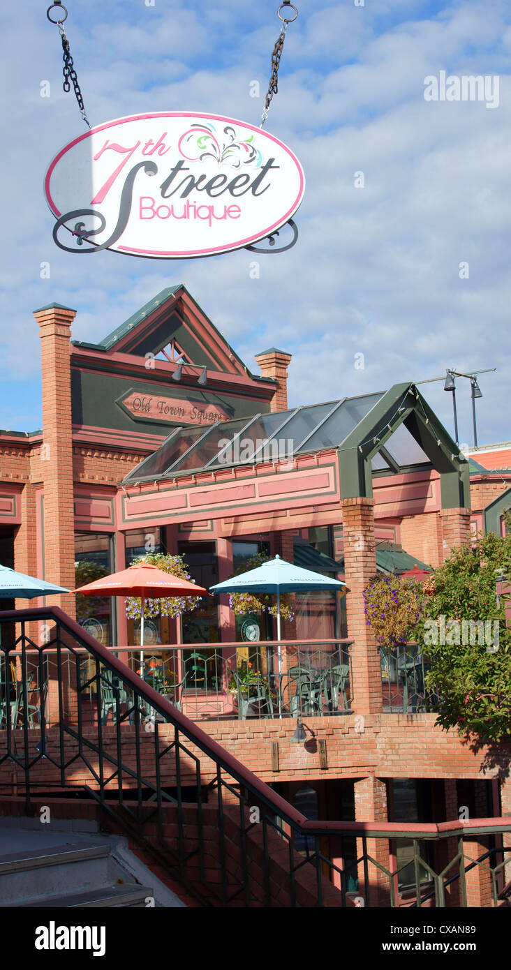 steamboat springs downtown city town 7th street botique building colorado co place buy buying shop shopping - Stock Image