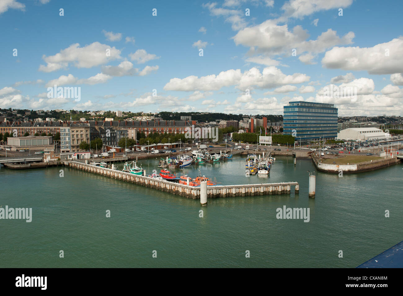 View of the port of Le Harvre in North coast of France - Stock Image