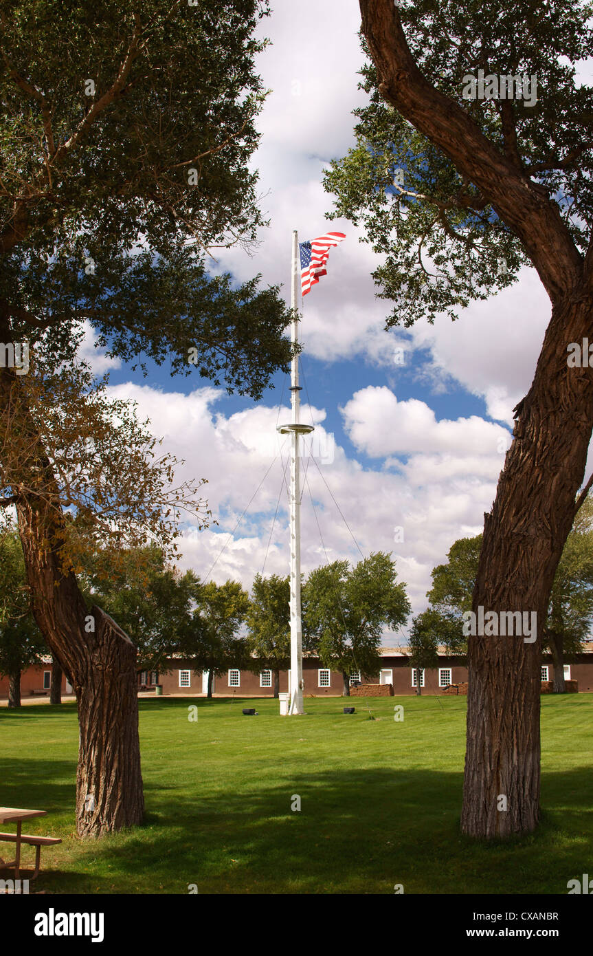 flag grounds fort garland museum historical society colorado co usa soldiers protect settlers san luis valley - Stock Image