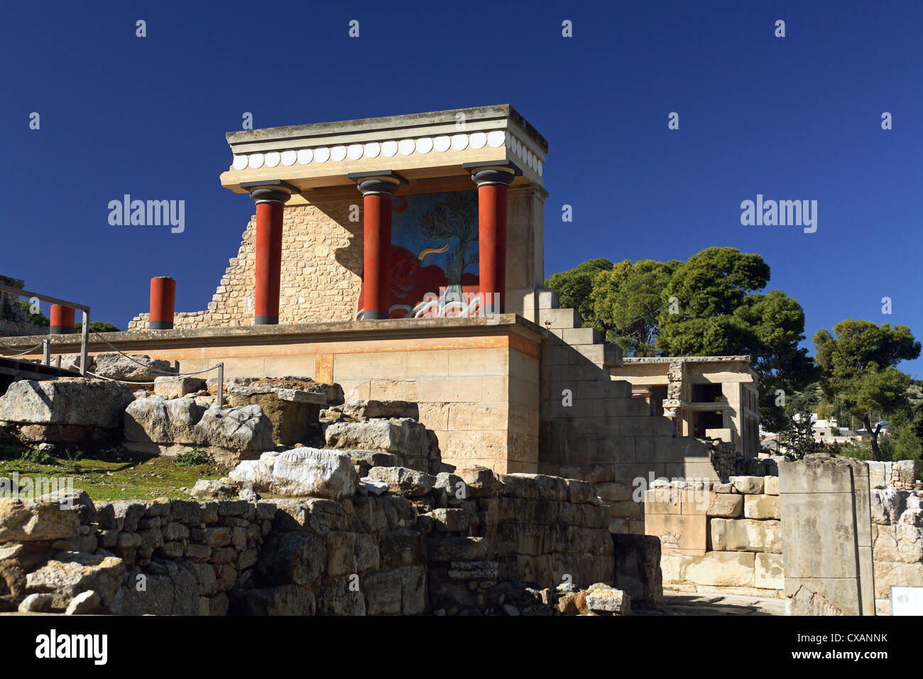 Knossos, the palace reconstructed Teilstueck - Stock Image