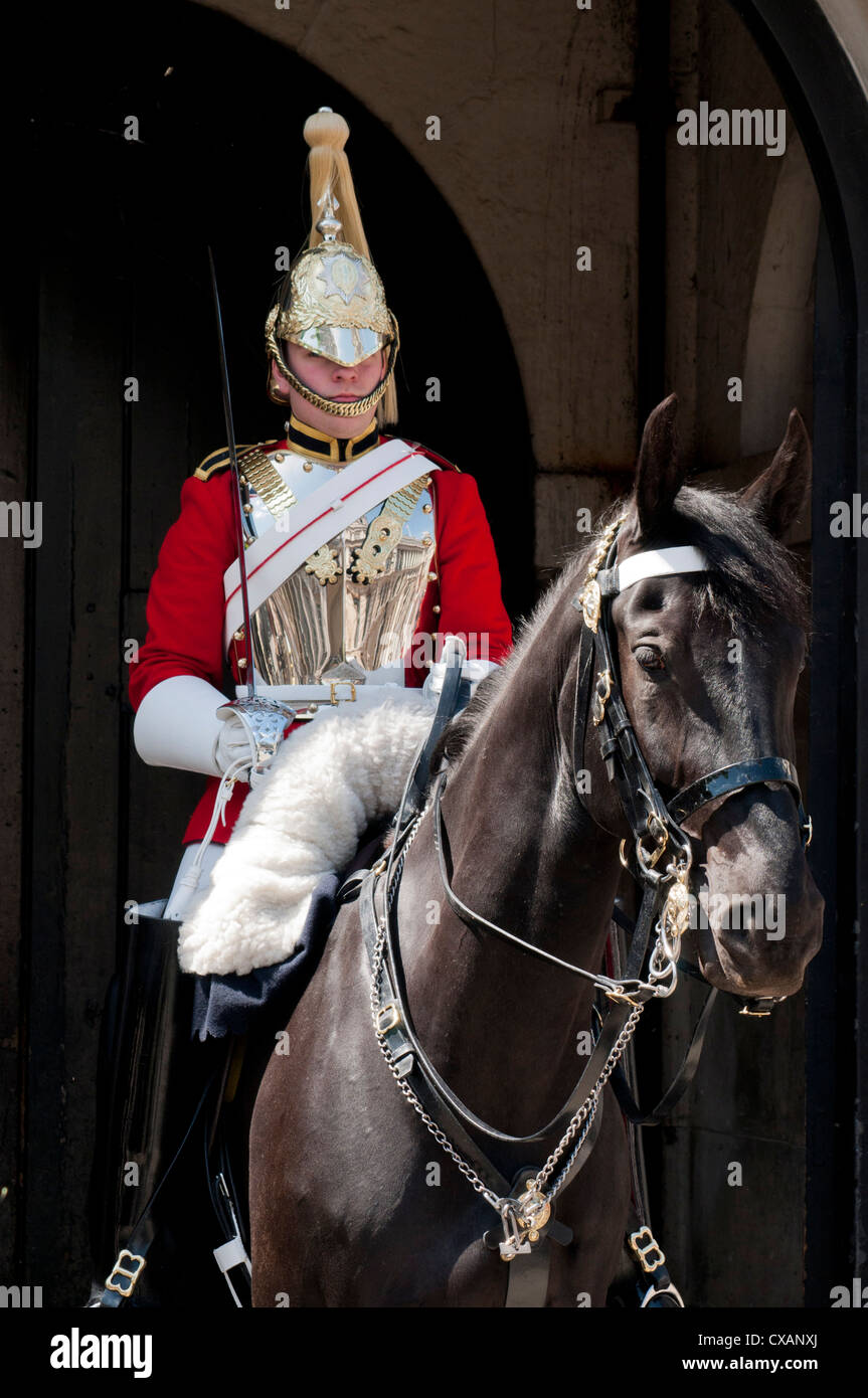 Life Guard one of the Household Cavalry Regiments on sentry duty, London, England, United Kingdom, Europe - Stock Image