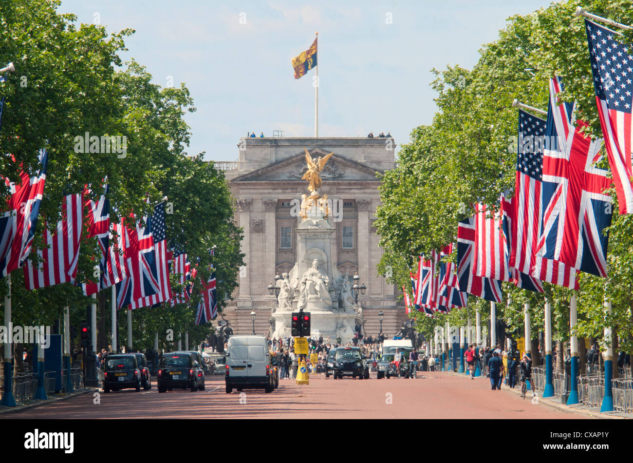 Flags lining the Mall to Buckingham Palace for President Obama's State Visit in 2011, London, England, United - Stock Image