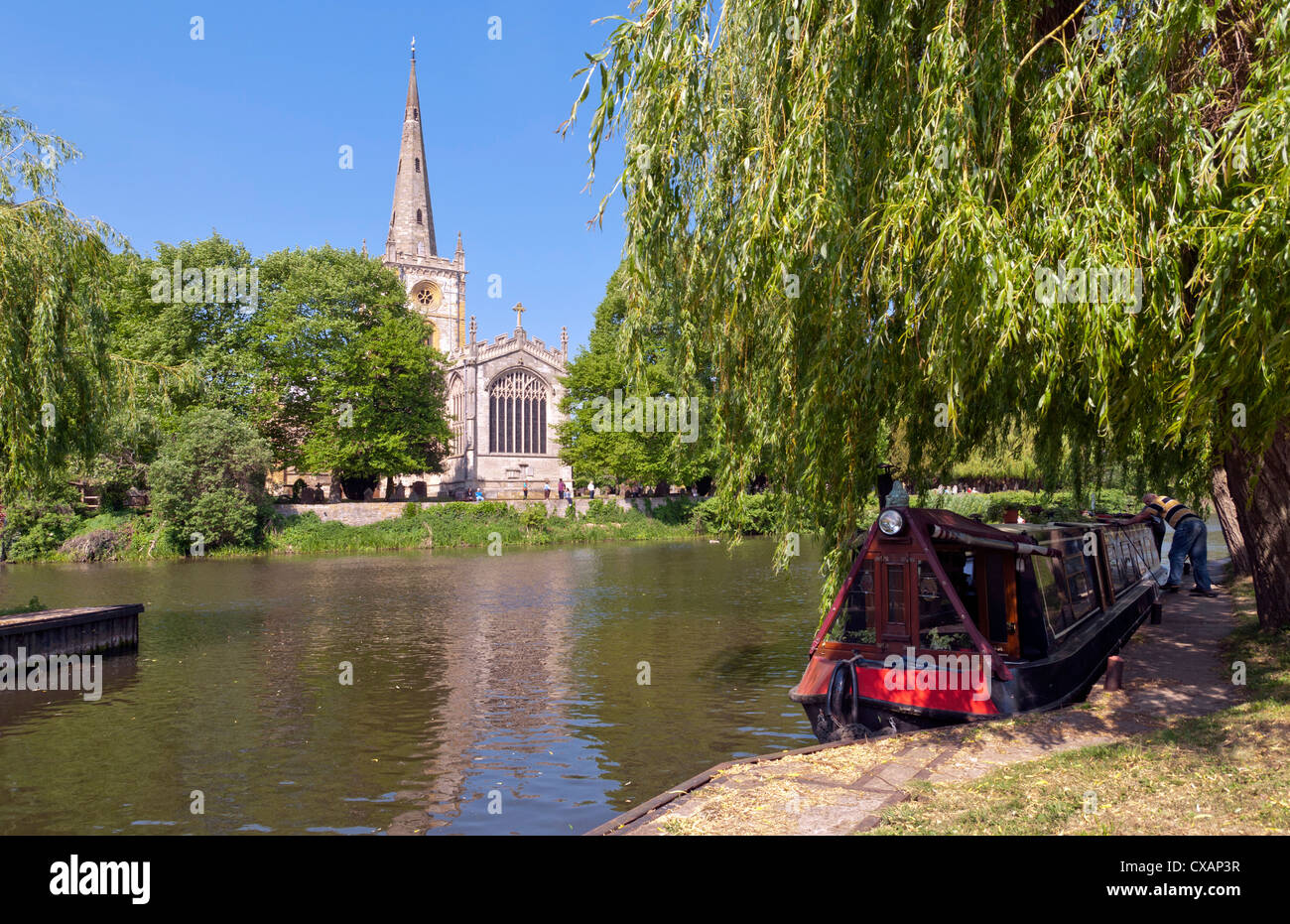 Holy Trinity Church, where William Shakespeare was baptised and buried, Stratford-upon-Avon, Warwickshire, England - Stock Image