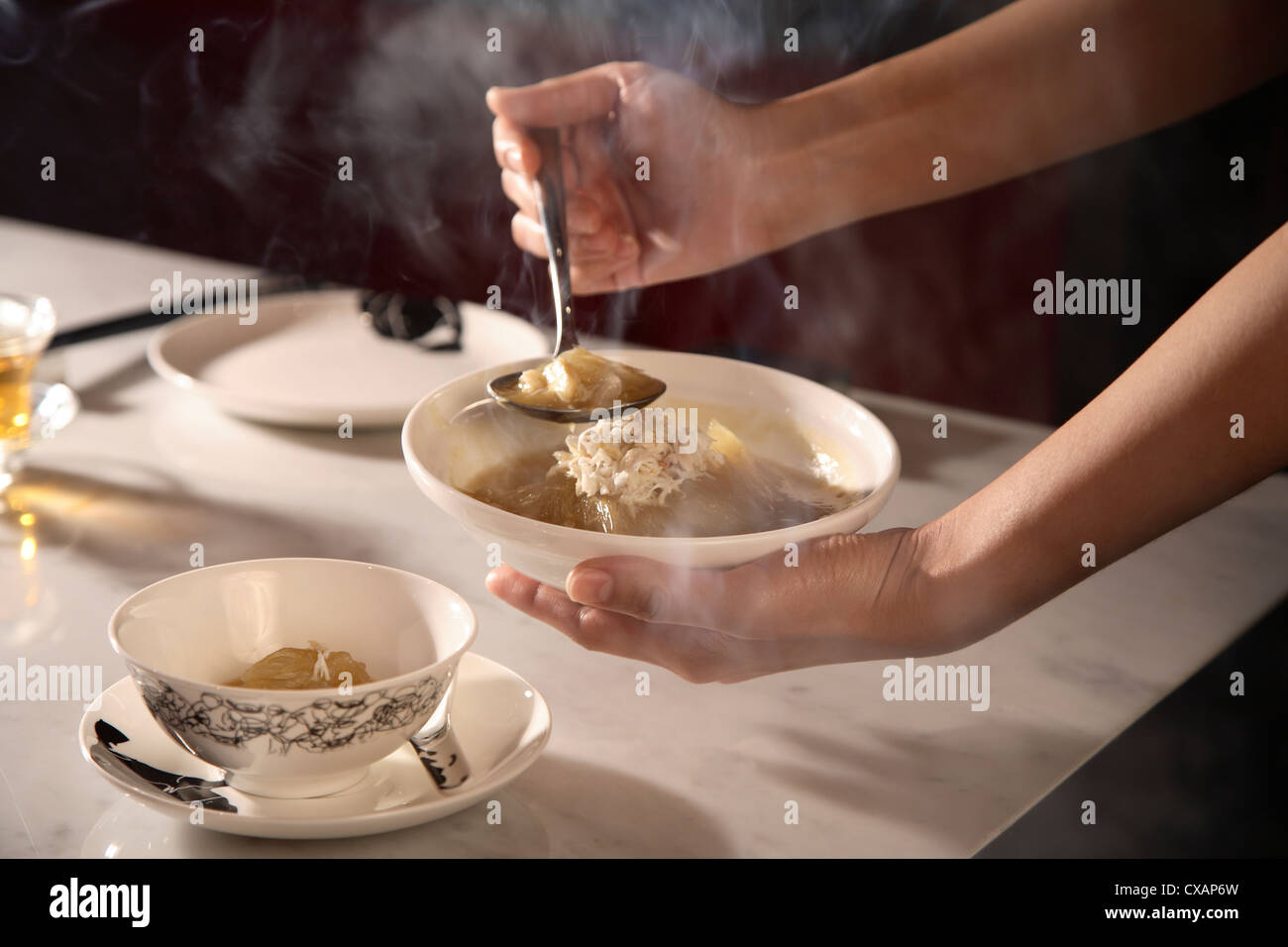 Shark fin Soup at Chinahouse Restaurant, The Oriental, Bangkok, Thailand, Southeast Asia, Asia - Stock Image