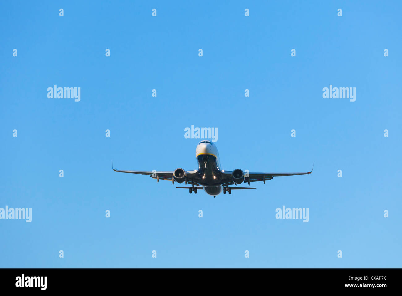 Ryanair Aircraft Boeing 737 on final approach, England - Stock Image