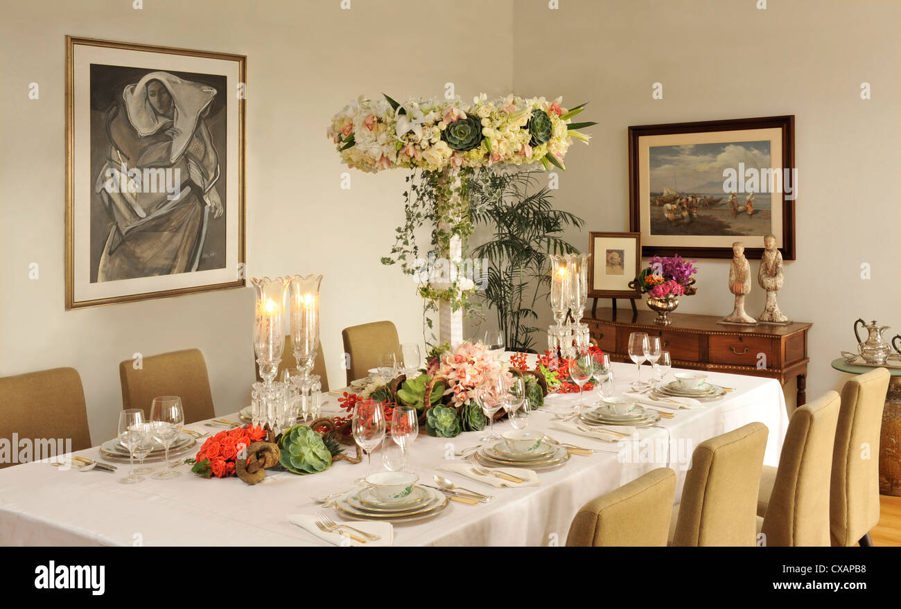 Elegant tablesetting in Manila, Philippines, Southeast Asia, Asia - Stock Image