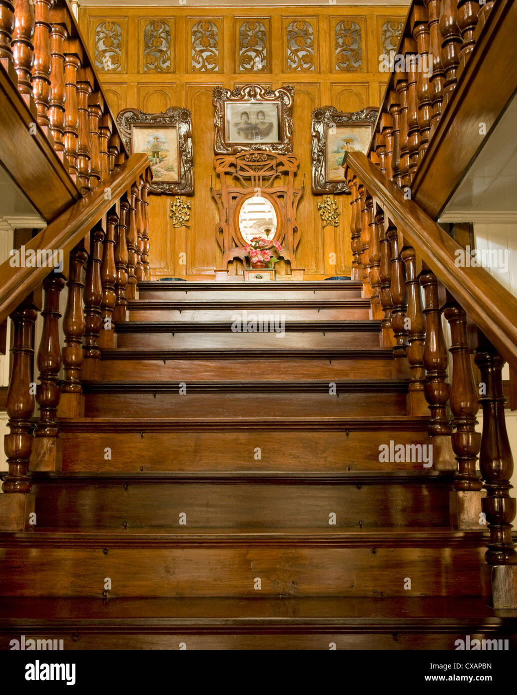 Staircase of Borja residence, an art nouveau Filipino style residence dating from 1920, Malabon, Metro Manila, Philippines - Stock Image
