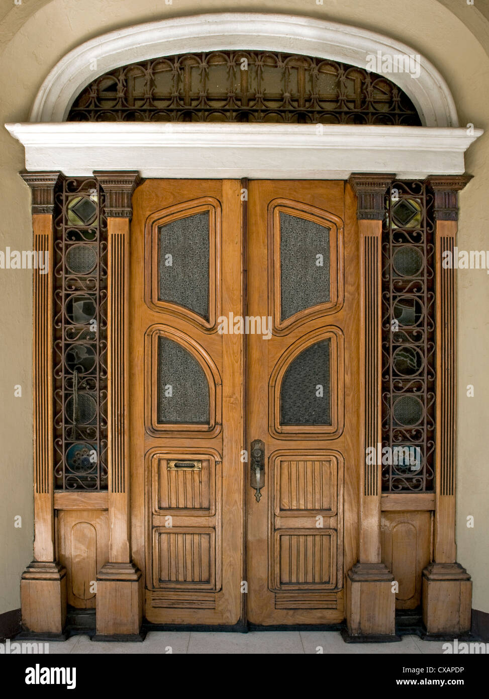 Art Nouveau style door, Iloilo, Philippines, Southeast Asia, Asia - Stock Image