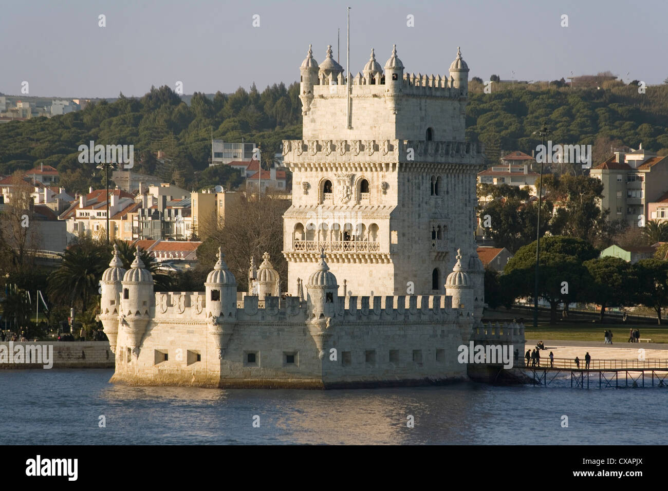Tower of Belem, UNESCO World Heritage Site, and River Tagus, Belem, Lisbon, Portugal, Europe - Stock Image